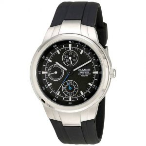 Casio EF305-1AV Men's Edifice Multifunction Watch With Black Medium Size Resin Band
