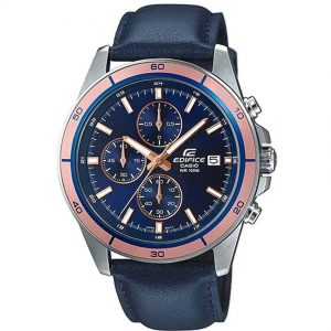 Casio Gents EFR-526L-2AVUDF Edifice Chronograph Blue Leather Medium Watch
