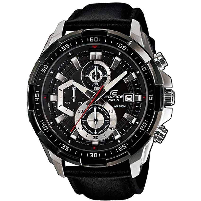 Casio Gents EFR-539L-1AVUDF Edifice Chronograph Black Leather Watch