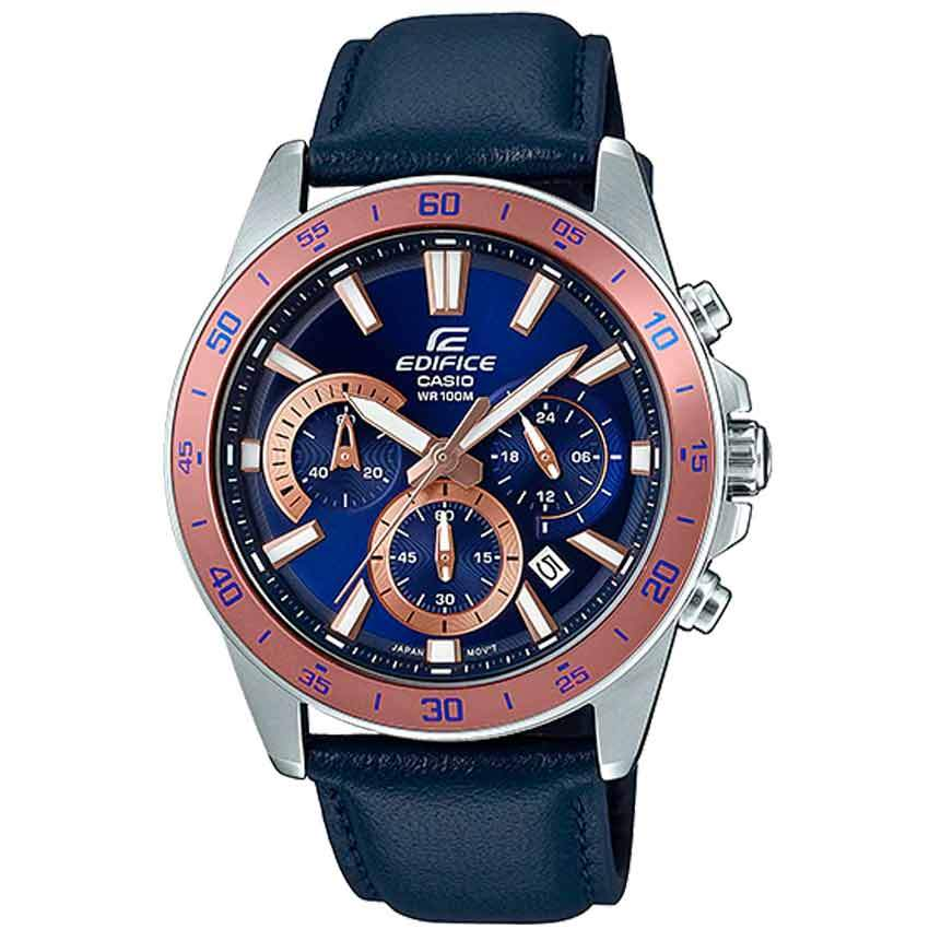 Casio Gent's EFV-570L-2BVUDF Edifice Chronograph Blue Leather Watch