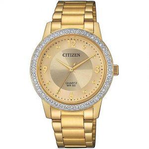 Citizen EL3092-86P Women's Quartz Swarovski Crystals Elegant Gold Watch