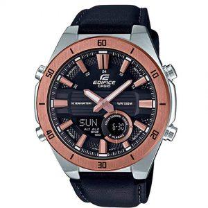 Casio Gent's ERA-110GL-1AVDF Rose Gold Bezel Black Leather Watch