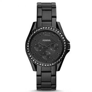 Fossil ES4519 Women's Riley Multifunction Black Stainless Steel Watch