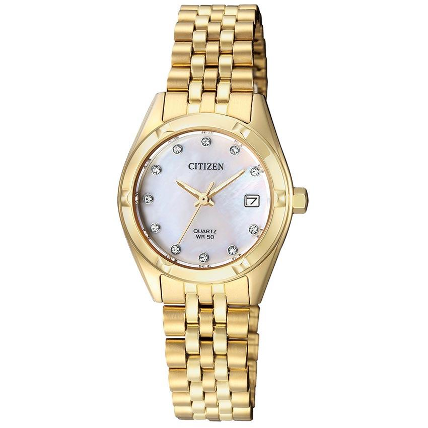 Citizen EU6052-53D Women's Analog Mother of Pearl Dial Small Watch