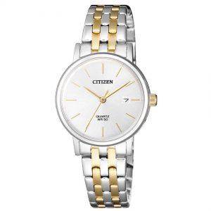 Citizen EU6094-53A Women's White Dial Two Tone Bracelet Small Watch