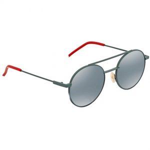 Fendi 0221/S 01ED Green Frame Khaki Mirror Blue Lens Sunglasses