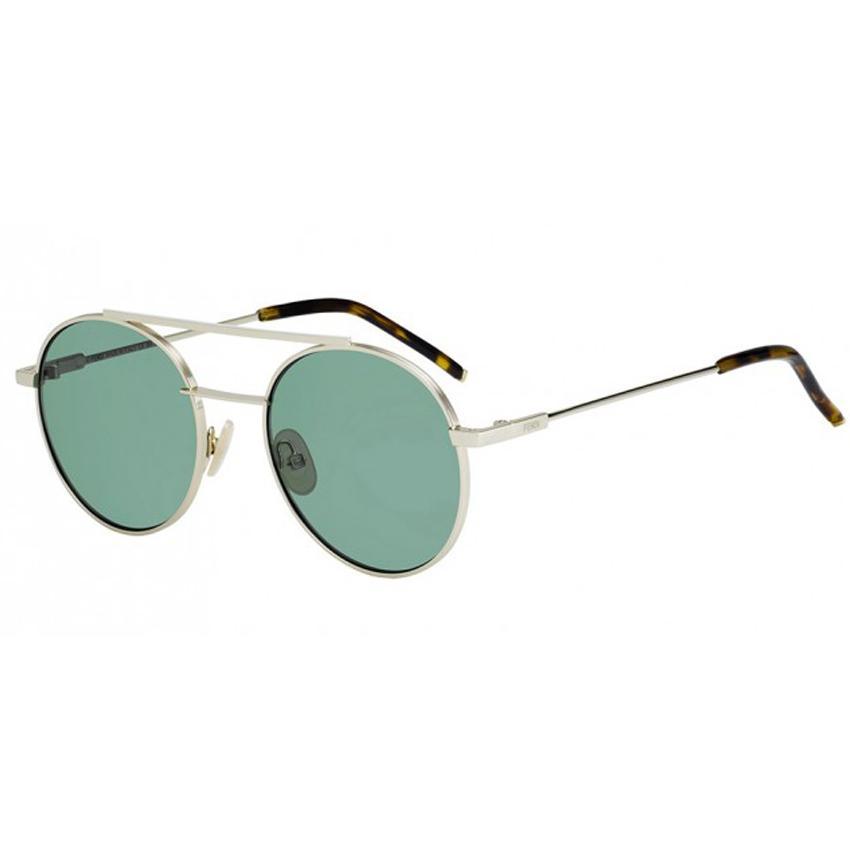 Fendi 0221/S J5G Unisex GOld Frame Round Green Lens Sunglasses