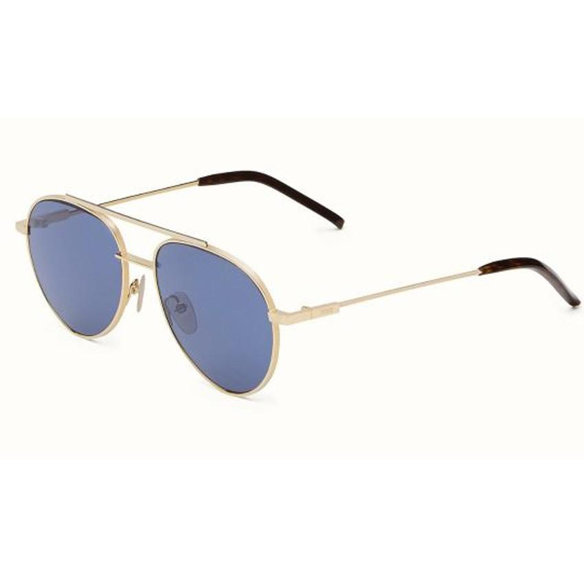 Fendi 0222/S 000 Men's Rose Gold Frame Blue Lens Sunglasses