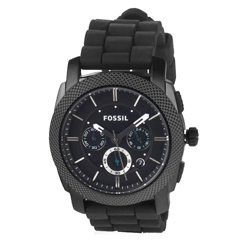 Fossil FS4487 Men's Machine Chronograph Black SS Silicone Strap Watch