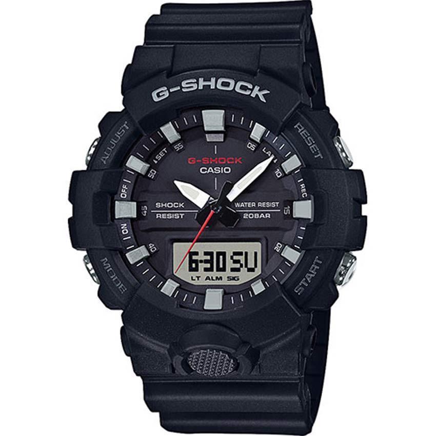 CASIO GENTS GA-800-1ADR G-SHOCK ANA-DIGI DOUBLE LIGHT BLACK RESIN SIZE WATCH