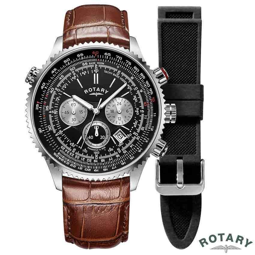 Rotary GS00100/04/KIT Men's Black Aquaspeed Pilot Brown Leather Watch