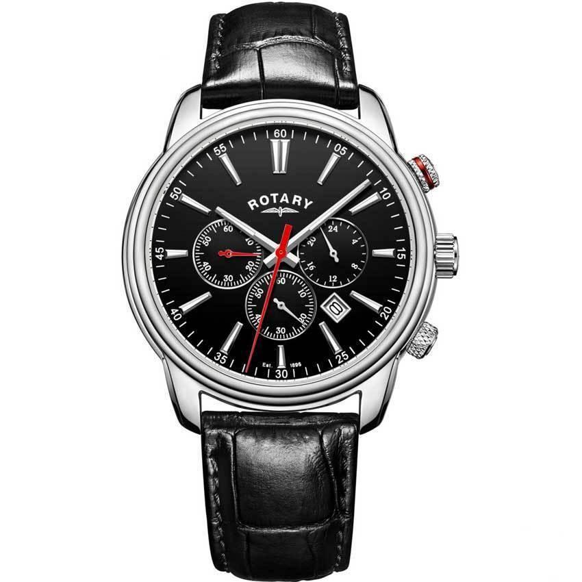 Rotary GS05083/04 Men's Monaco Chronograph Black Leather Watch