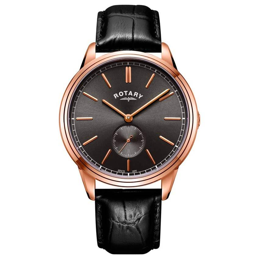 Rotary GS05364/20 Men's Cambridge Rose Gold Black Leather Watch