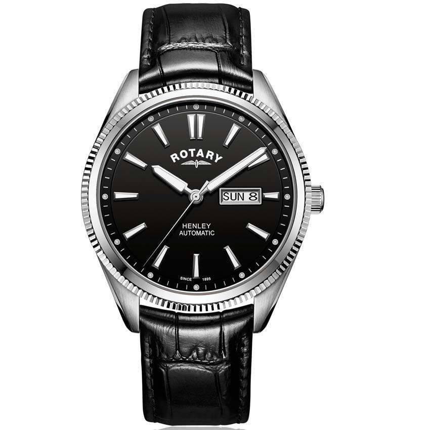 Rotary GS05380/04 Men's Henley Serrated Bezel Automatic Black Leather Watch