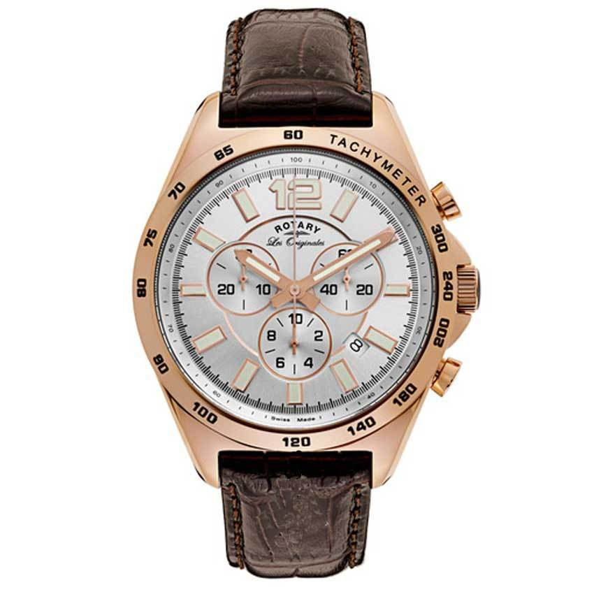ROTARY GS90073/06 Men's Les Originales Swiss Made Quartz Chronograph Brown Leather Watch