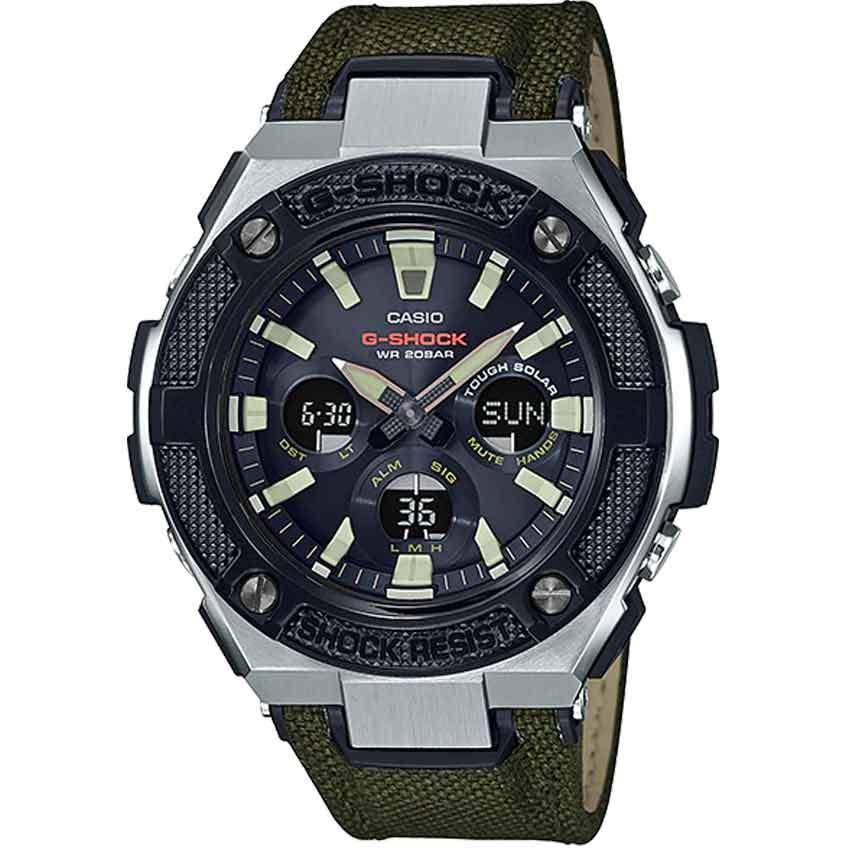 Casio Gent's GST-S330AC-3ADR -Shock G-Steel Fabric Leather Strap Watch