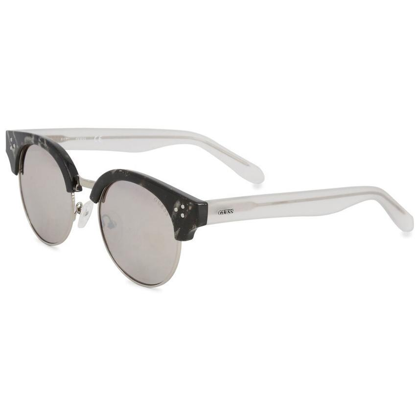 Guess Factory 6031 Women's Black/Clear Frame Tan Mirror Lens Sunglasses