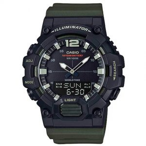 CASIO HDC-700-3AV MEN'S ANALOG DIGITAL WORLD TIME GREEN RESIN QUARTZ WATCH