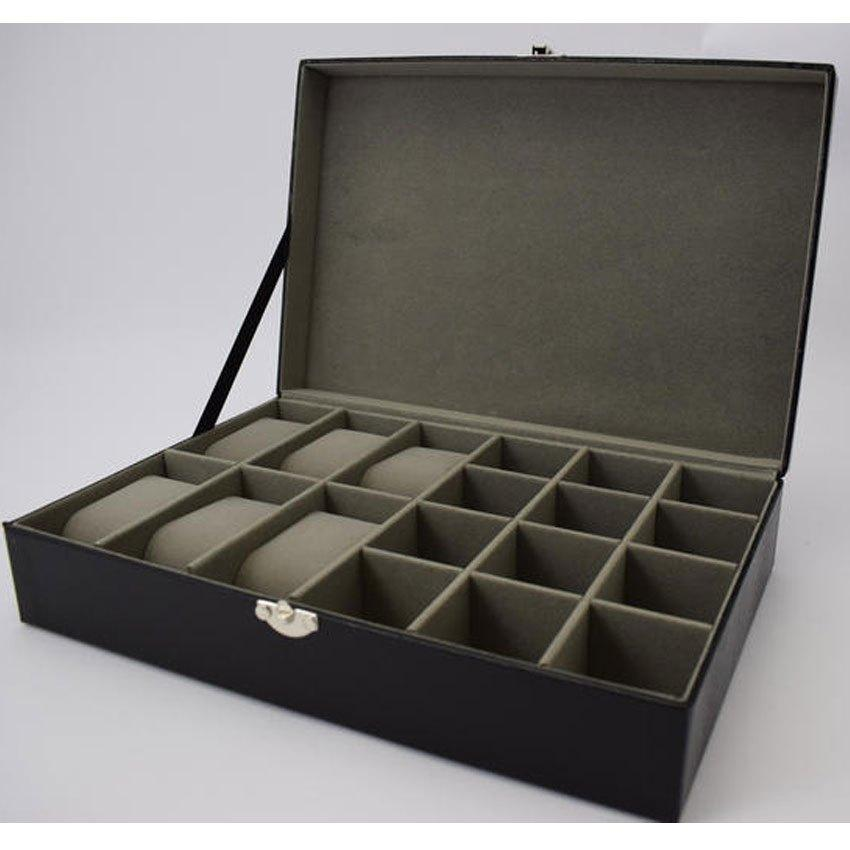Harvey Makin HM1206 Watch/Cufflink Box Holds 6 Watches/12 Cufflinks