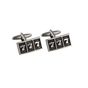 Harvey Makin HM1339 Monte Carlo Silver & Black Cufflinks - 7 7 7