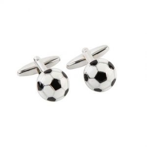 Harvey Makin HM179 Rhodium Plated Cufflinks Footballs