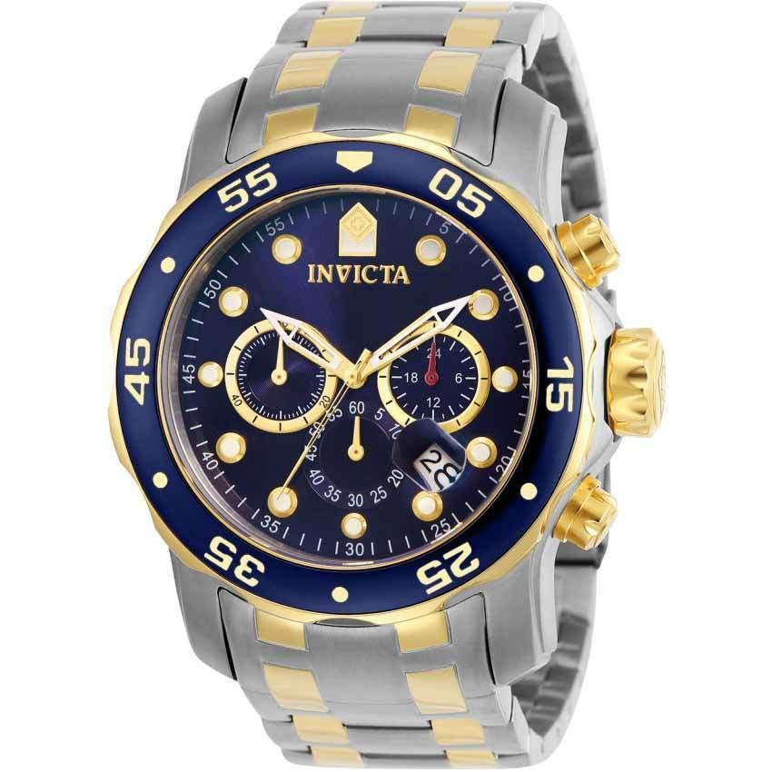 Invicta 0077 Men's Pro Diver Quartz Chronograph Blue Dial Large Size Watch