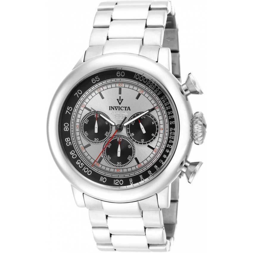 Invicta 15065 Men's Vintage Quartz Chronograph Silver, Black Dial Large Watch