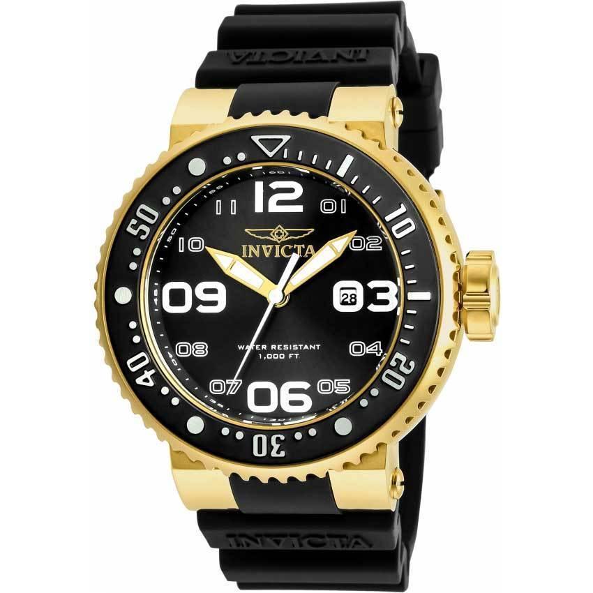 Invicta 21521 Men's Pro Diver Quartz 3 Hand Black Dial Large Watch