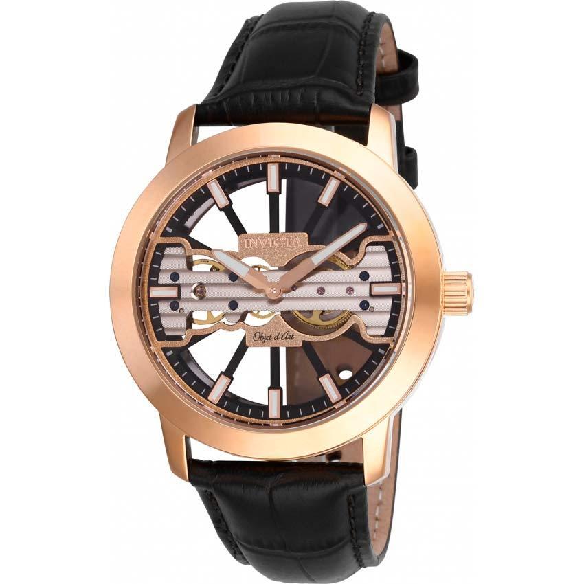 Invicta 25267 Men's Objet D Art Mechanical Rose Gold Leather Watch