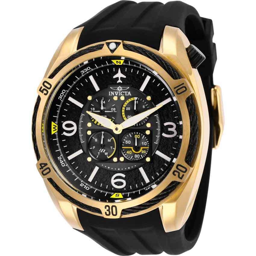 Invicta 28079 Men's Aviator Gold Case Large Multi Function Watch