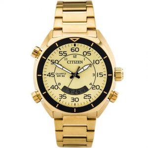 Citizen JM5472-52P Men's Digital Analog Chronograph Champagne Dial Watch