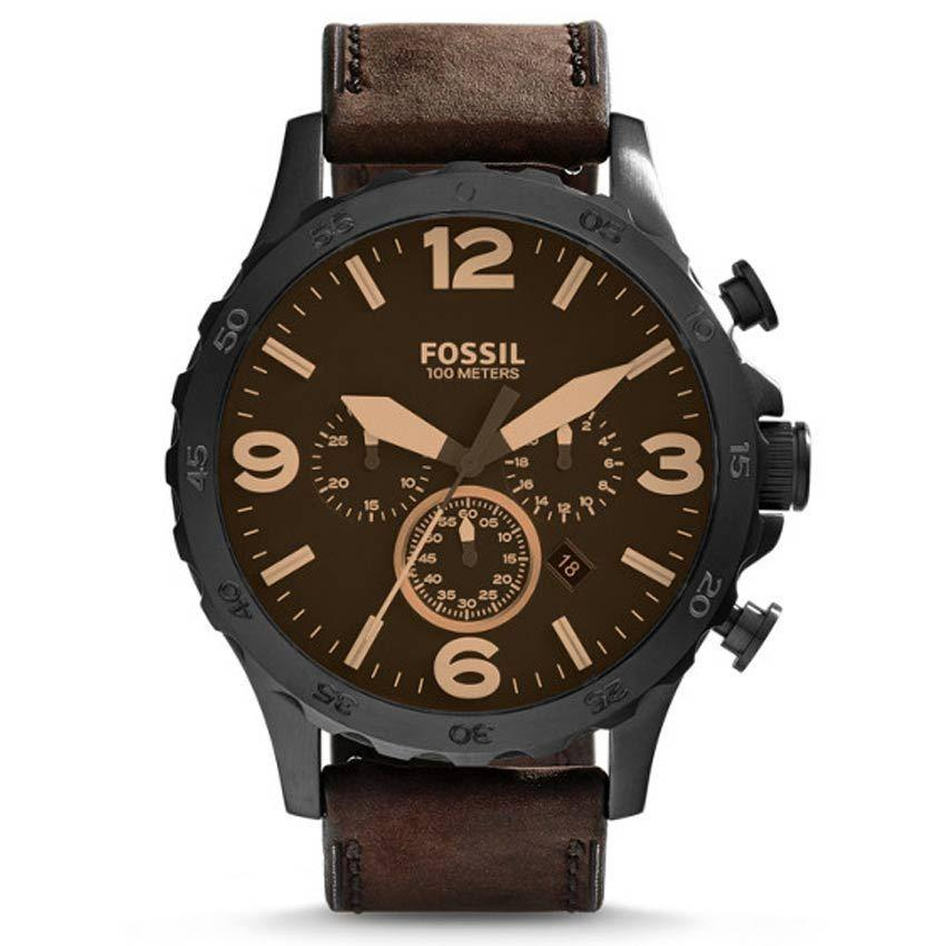 Fossil JR1487 Men's Nate Brown Leather Strap Chronograph Large Size Watch