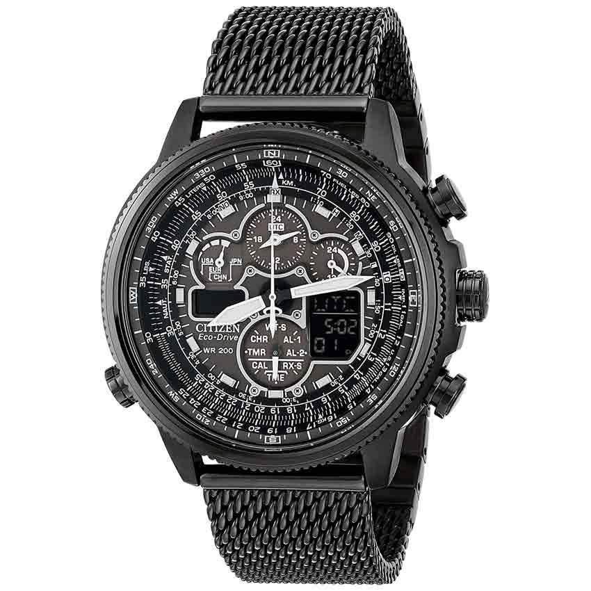 Citizen JY8037-50E Men's Navihawk AT Eco-Drive Chronograph Black Mesh Watch