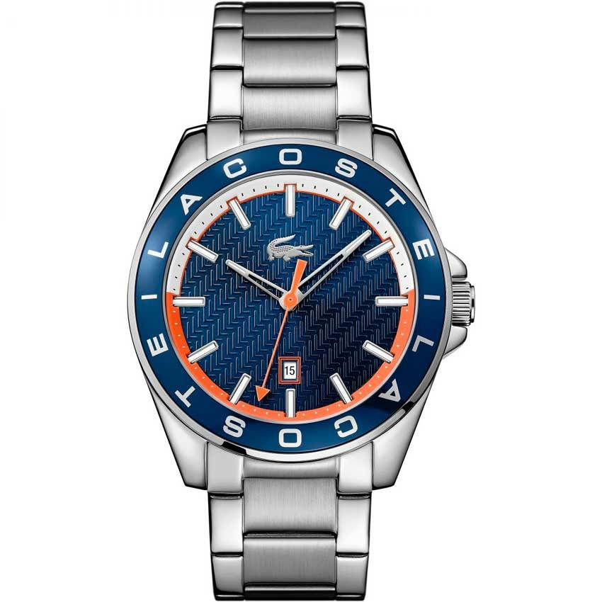 Lacoste 2010886 Men's Westport Blue Bezel Silver Bracelet Watch