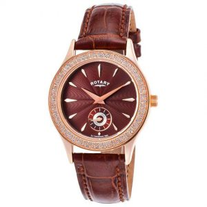Rotary LS02907/16 Women's Crystals Brown Dial And Leather Watch