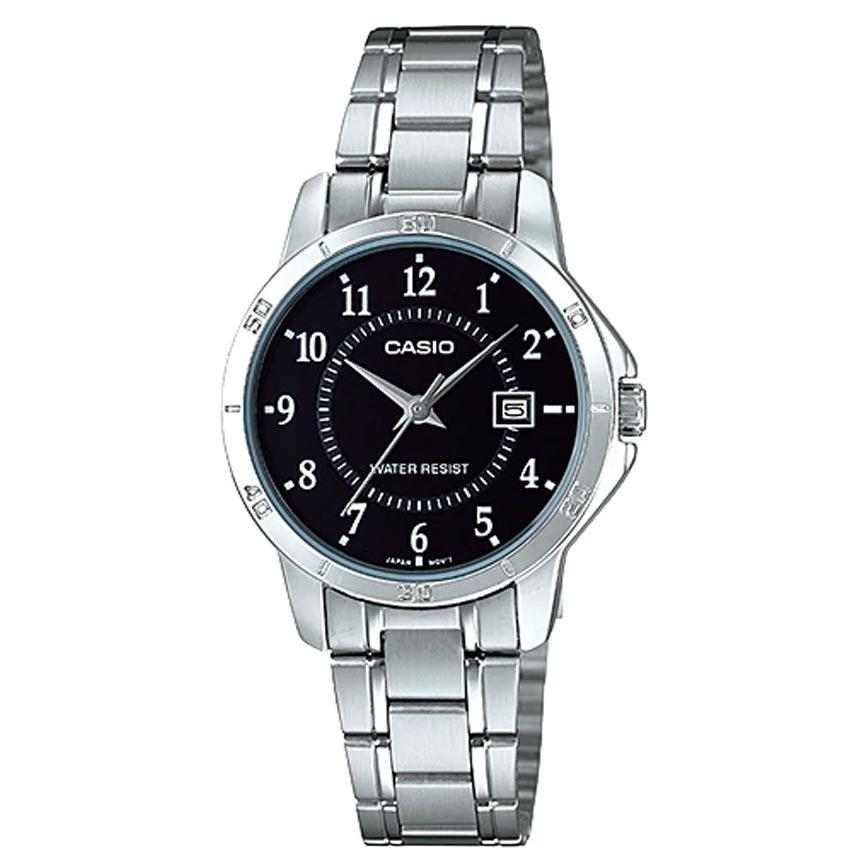 Casio Ladies LTP-V004D-1BUDF Black Dial Stainless Steel Small Watch