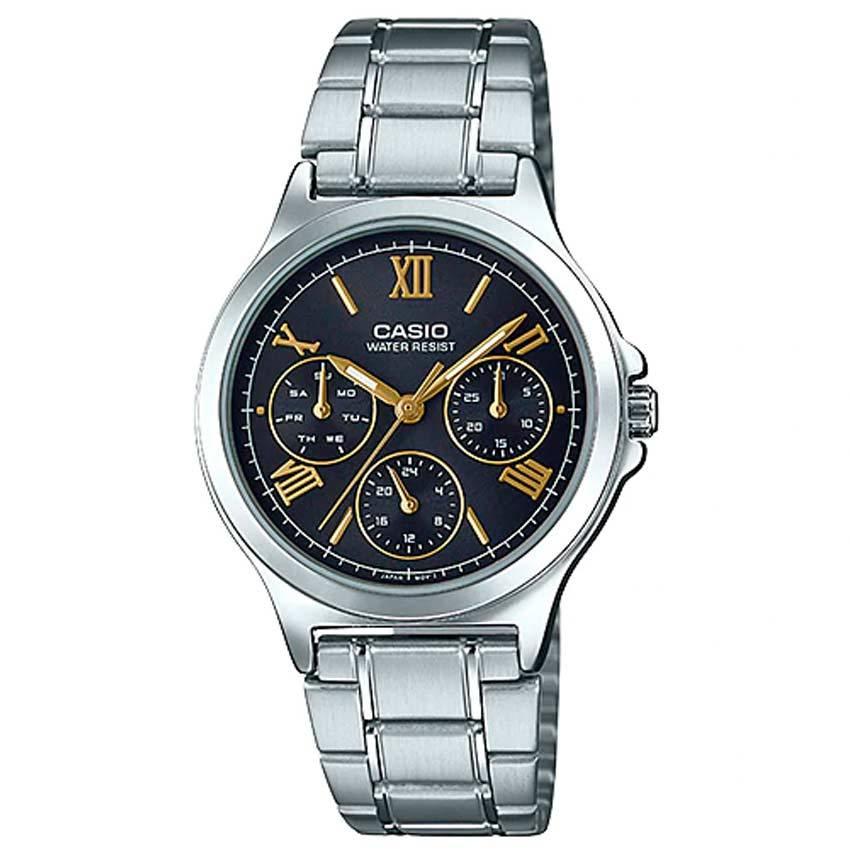 Casio Ladies LTP-V300D-1A2UDF Multi-Function Black Dial Medium Watch