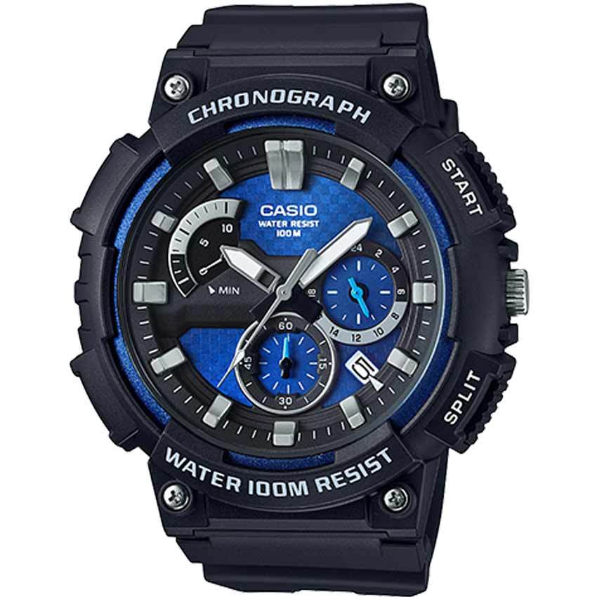 Casio MCW200H-2AV Men's Retrograde Chronograph Blue Dial Resin Large Watch