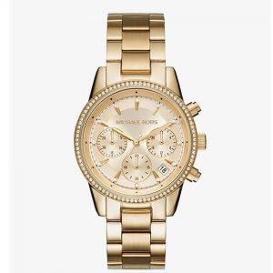 Michael Kors MK6356 Women's Ritz Chronograph Gold Dial Watch