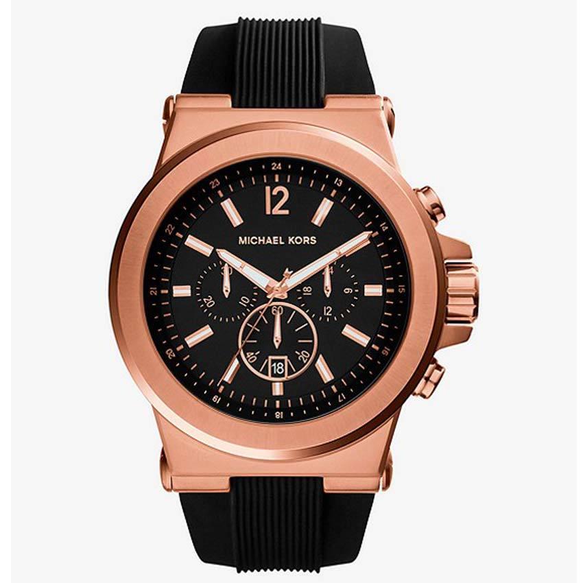 Michael Kors MK8184 Dylan Rose Gold Case Black Silicone Watch