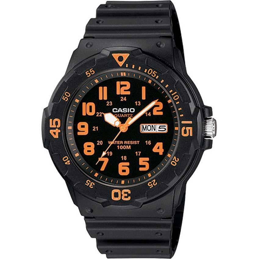Casio MRW200H-4BV Unisex Black/Orange Face Black Band Dive Medium Size Watch