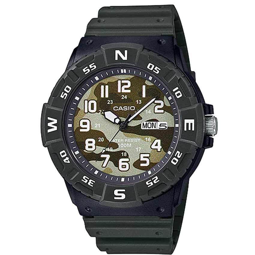 Casio MRW220HCM-3BV Men's Analog Camouflage Dial Green Resin Band Watch