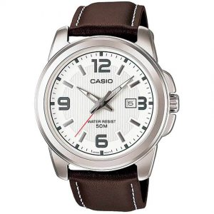 Casio Gent's MTP-1314L-7AVDF Enticer Analog Brown Leather Watch