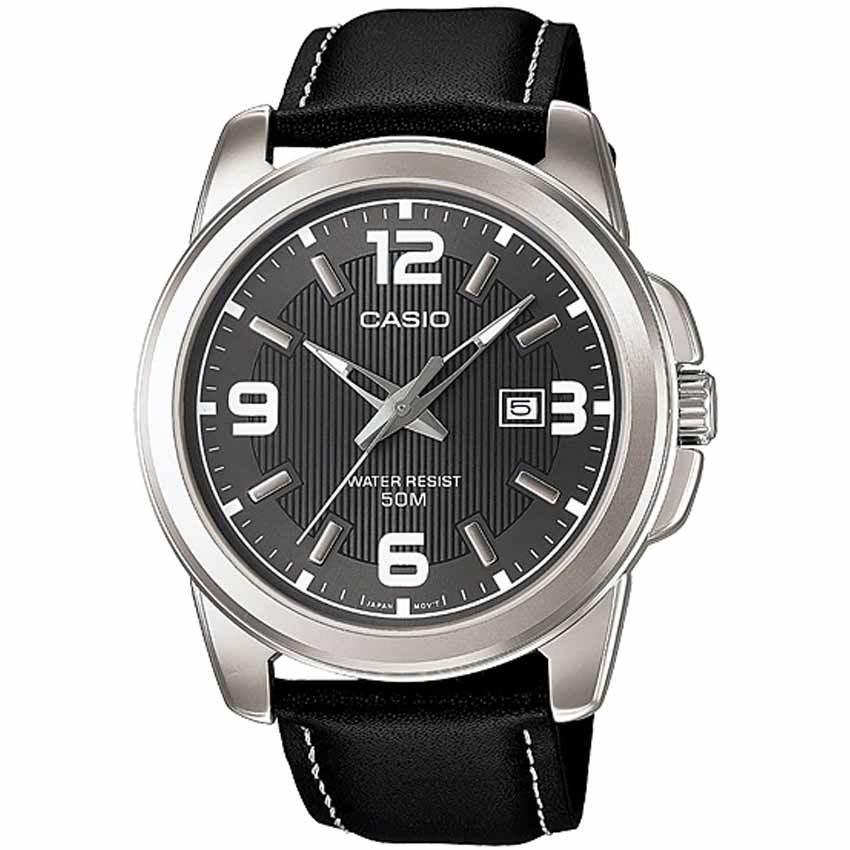 Casio Gent's MTP-1314L-8AVDF Enticer Black Leather Medium Watch