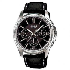Casio Gent's MTP-1375L-1AVDF Multifunction Black Dial, Leather Medium Watch