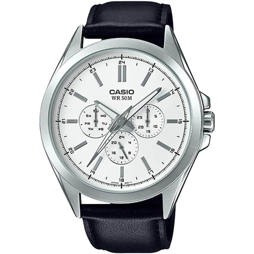 Casio MTPSW300L-7AV Men's Analog Multifunction Leather Watch