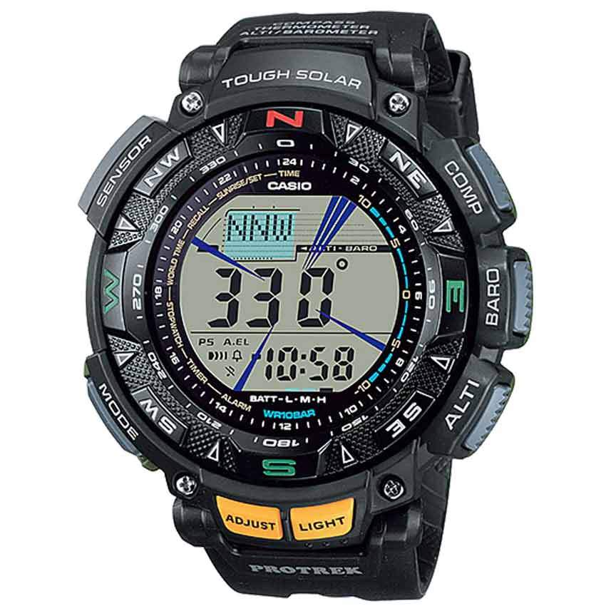 Casio Gent's PRG-240-1DR Protrek Triple Sensor Digital Resin Strap Watch