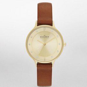 Skagen SKW2147 Women's Anita Champagne Dial Brown Leather Medium Watch