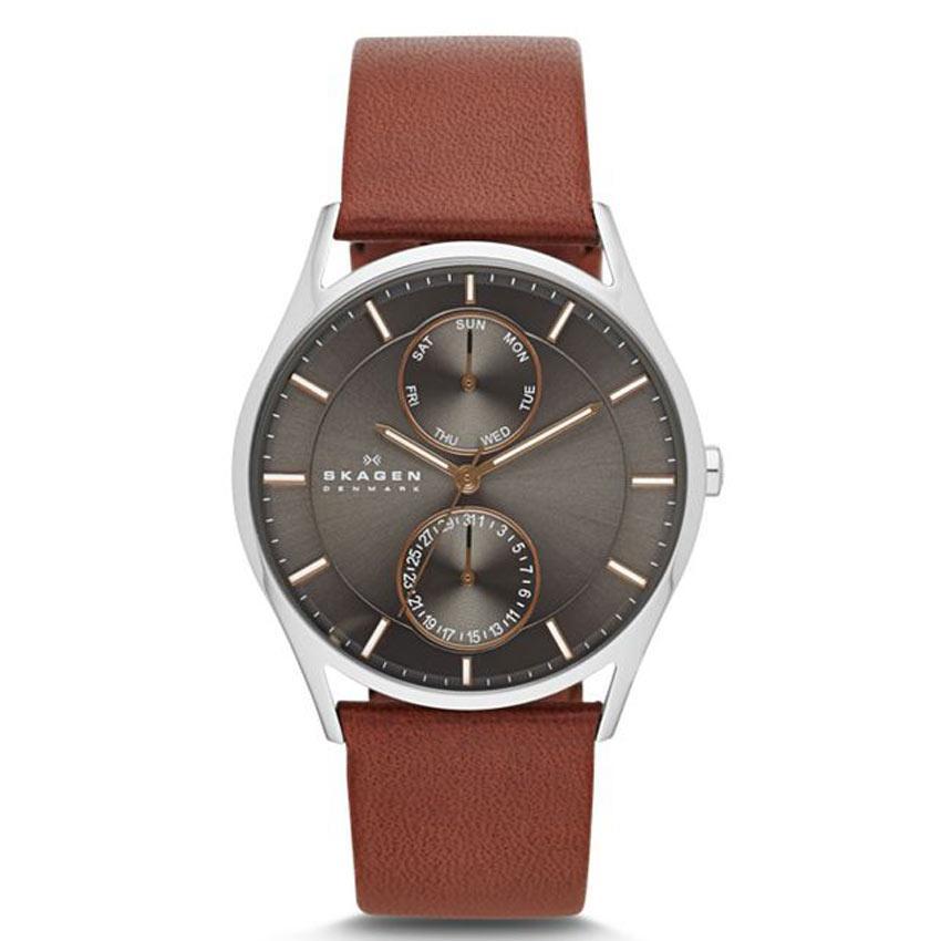 Skagen SKW6086 Men's Holst Multifunction Brown Leather Medium Watch