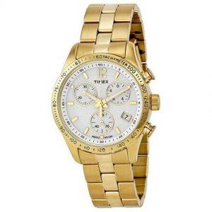 Timex T2P058 Women's Ameritus Chronograph White Dial Gold-tone Watch